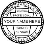 Professional Architect, Engineer & Land Surveyor Stamps & Seals