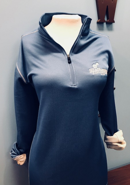 Blue Pullover with Ivory Logo