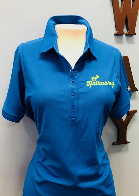 Women's Blue Polo with Lime Green Logo