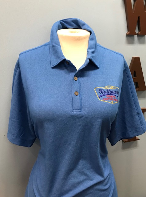 Electric Blue Polo with Multi Color Logo
