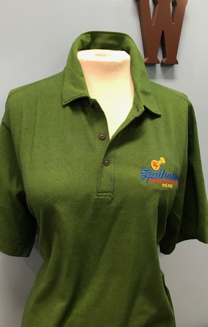 Green Polo with Multi Color Logo