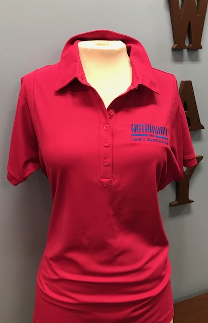 Hot Pink Polo with Royal Blue Logo